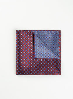 Blue Dot On Red Pocket Square - Anthony Of London -RED