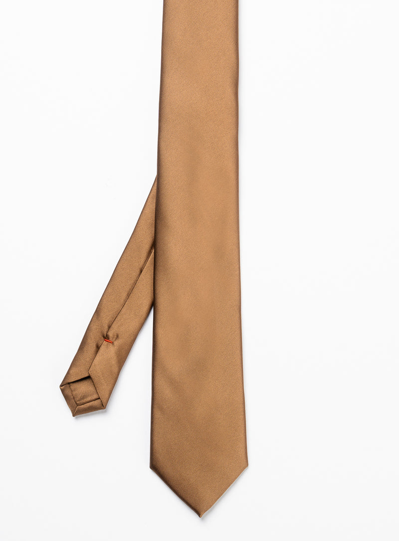 solid cognac tie - anthony of london -cognac