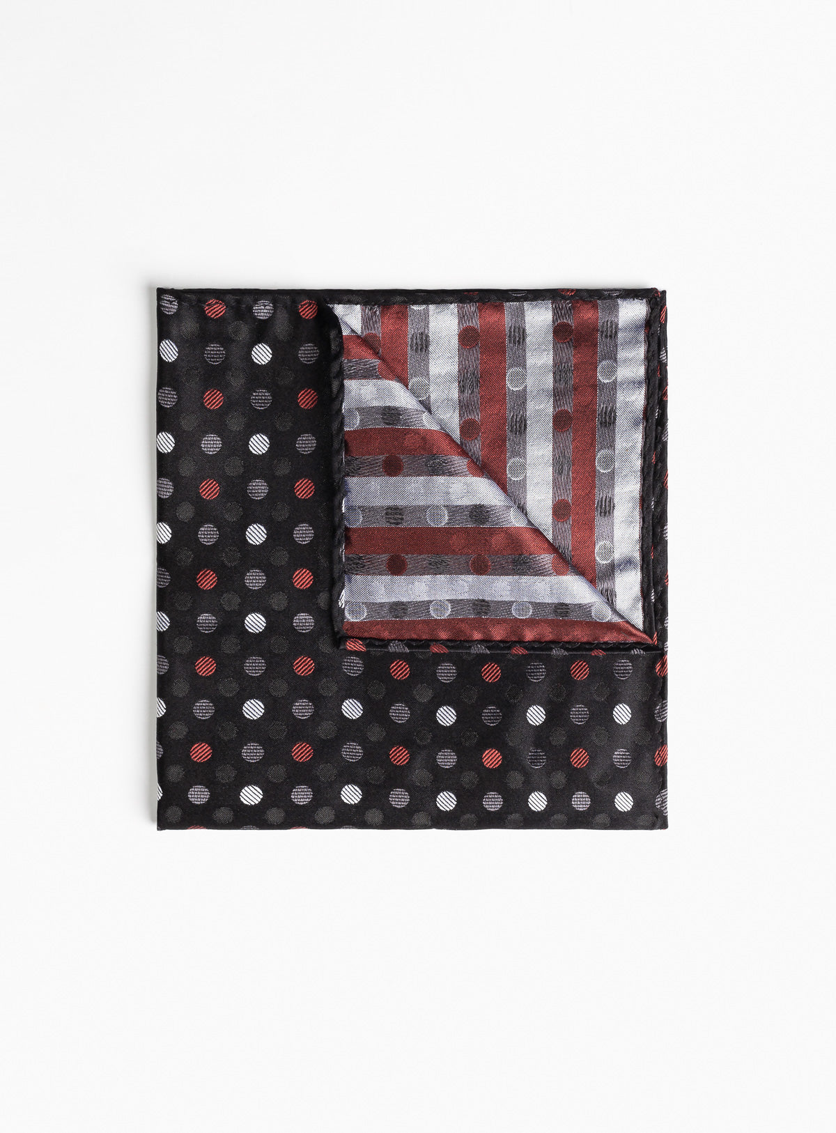 burgundy dot pocket square - anthony of london -black