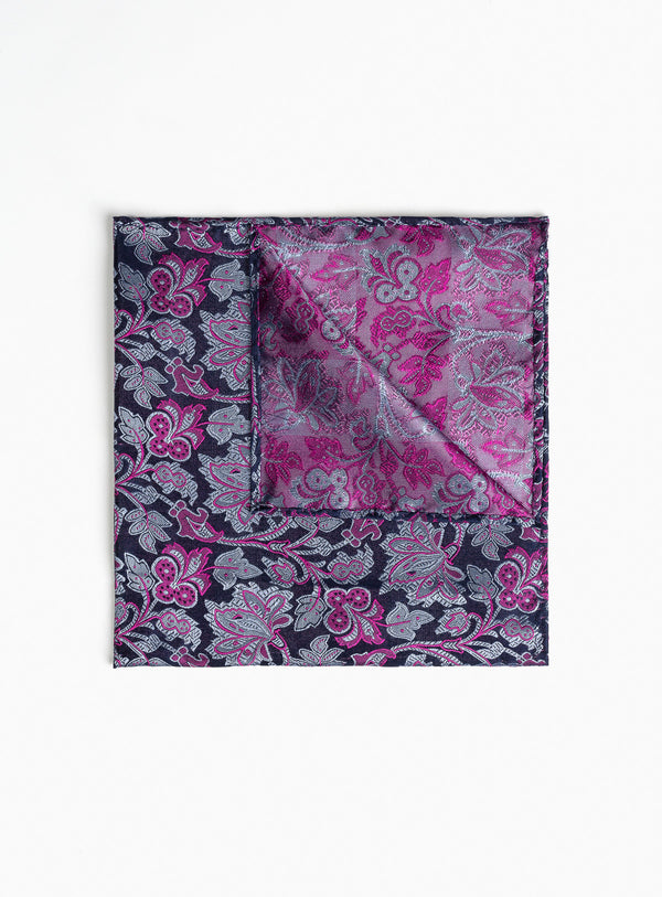 Fushia Floral Design Pocket Square -FUSHIA