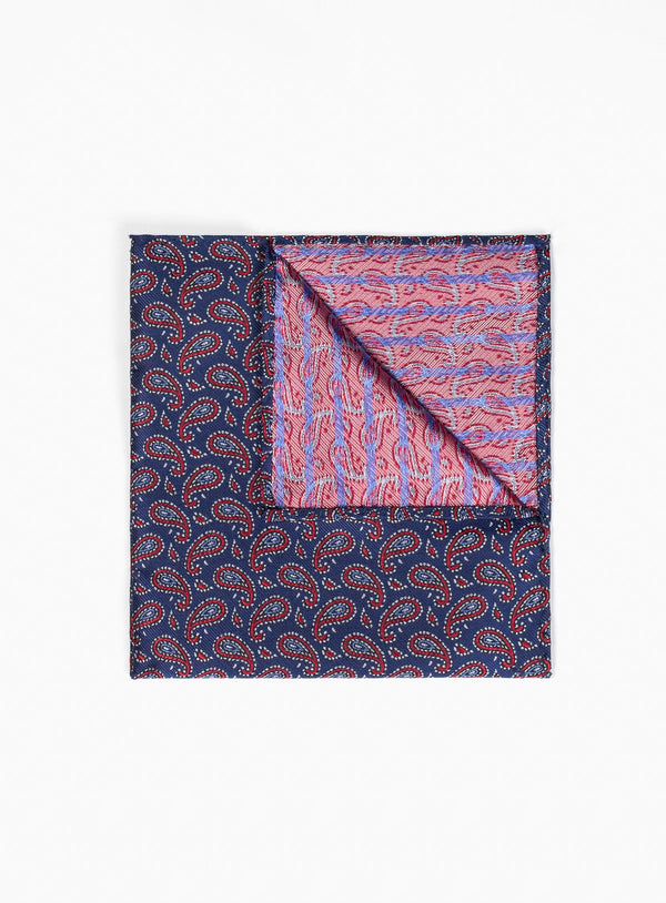 POCKET SQUARE NAVY PASELEY RED FROM BRAND ANTHONY OF LONDON. ERNEST -RED