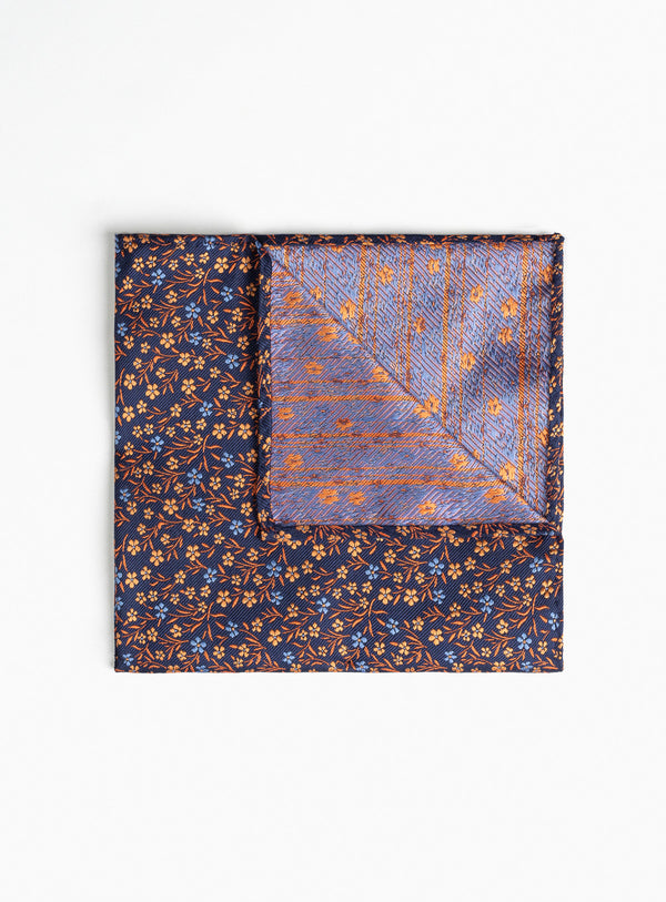 Navy With Orange Flowers Pocket Square - Anthony Of London -ORANGE