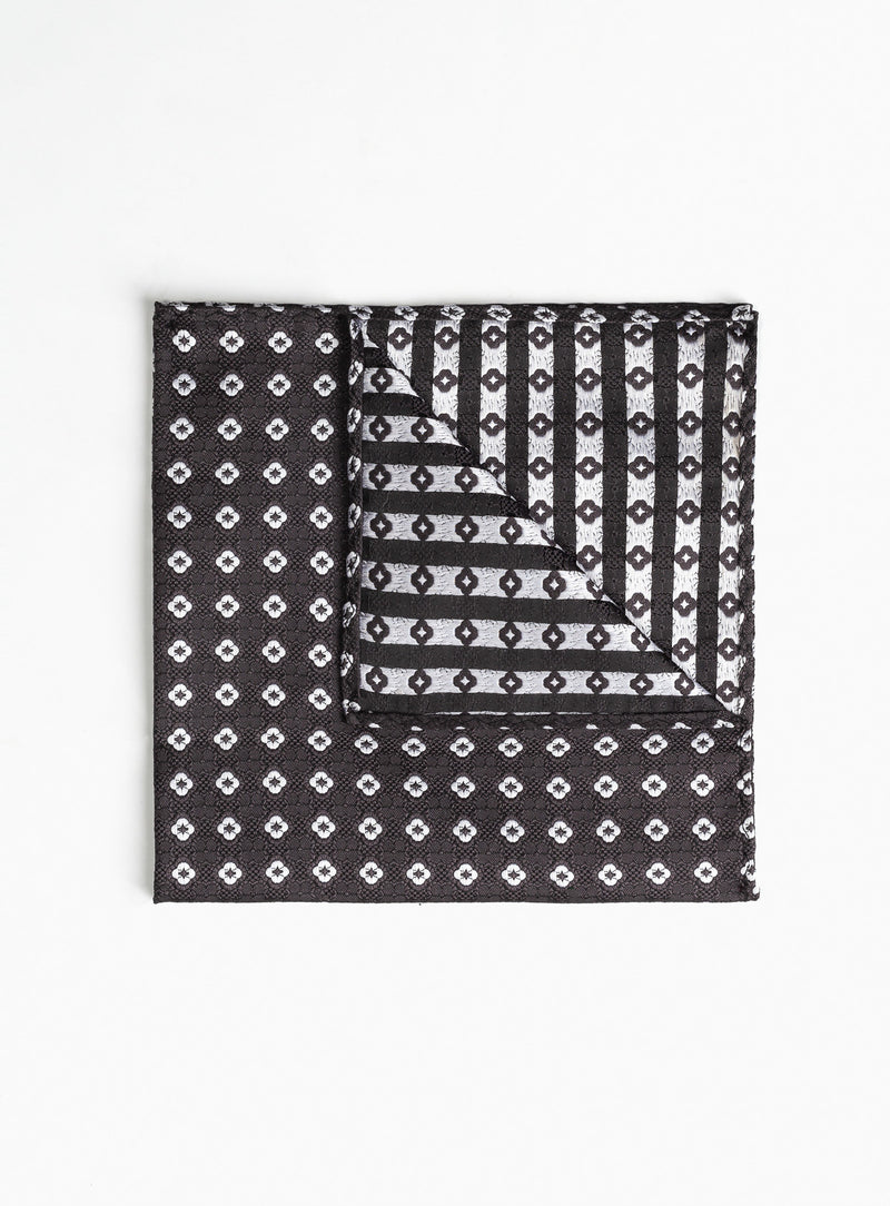 charcoal medaillon pocket square -charcoal