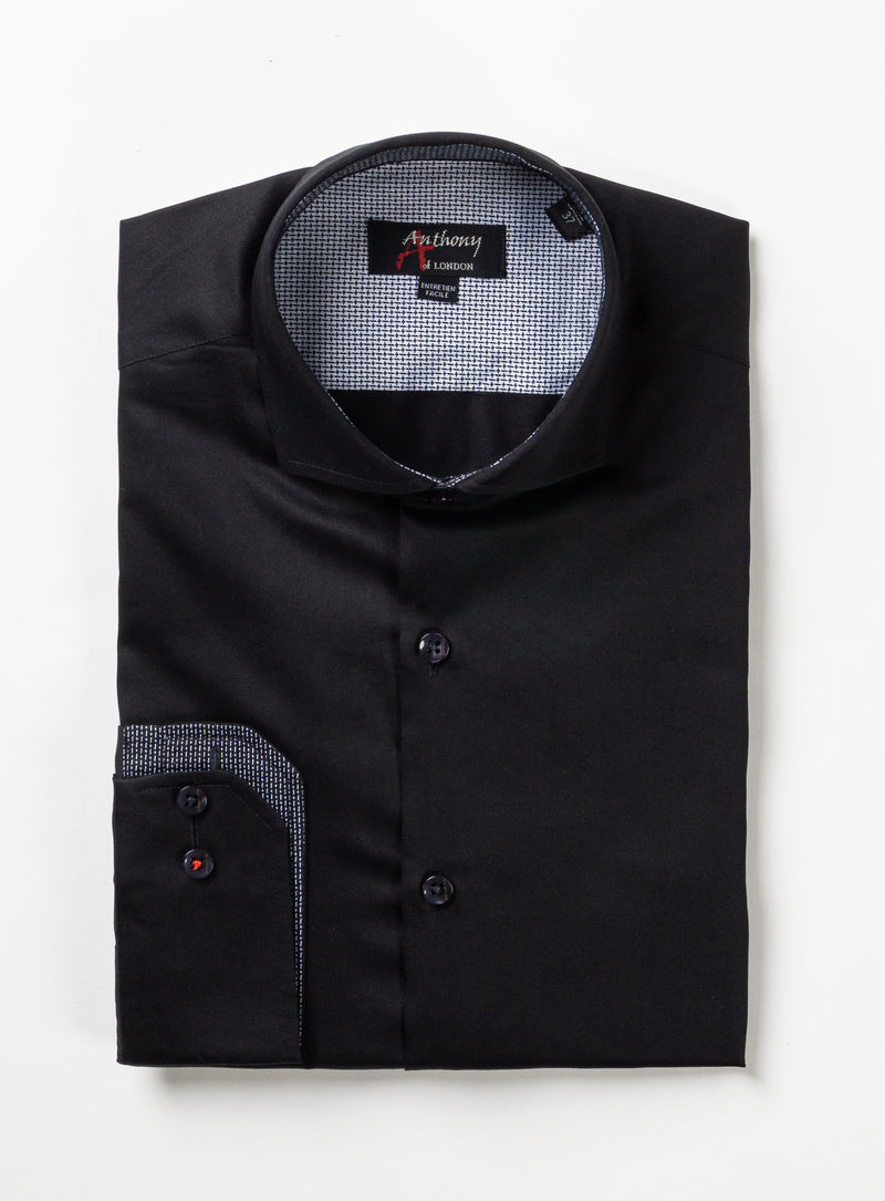 solid colour satiny dress shirt - anthony of london -black
