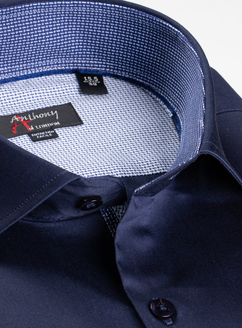 solid colour satiny dress shirt - anthony of london -navy