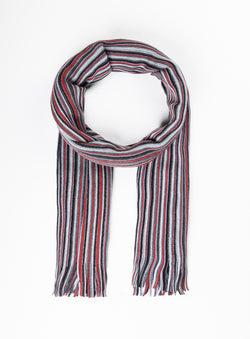 Red Multi Stripe Scarf - Orvieto -RED