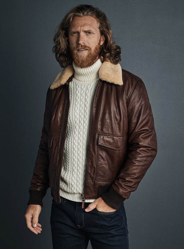 Aviator Leather Jacket - Sly & Co -WHISKEY