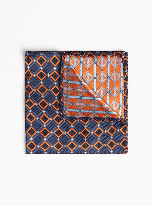 RUST DIAMOND POCKET SQUARE FROM BRAND ANTHONY OF LONDON. ERNEST -RUST
