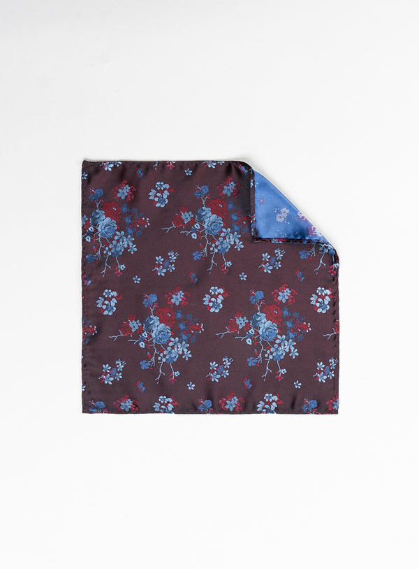 Blue & Burgundy Floral Pocket Square - Soul of London -BURGUNDY