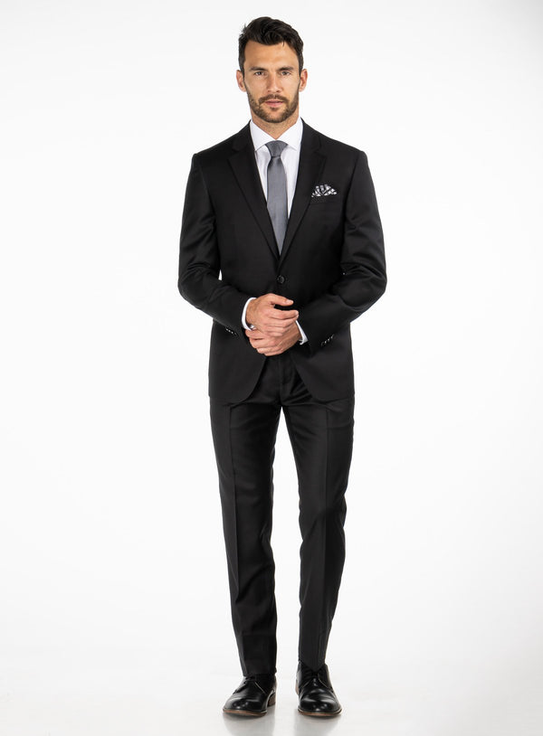 Black Solid Colour 4 Season Suit - Orvieto -BLACK