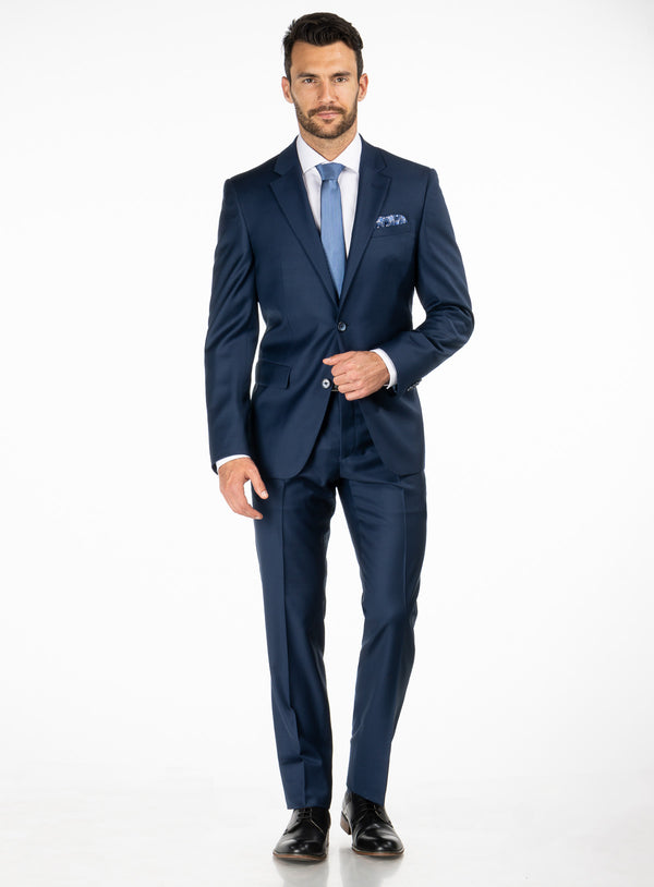 Navy Blue Solid Colour 4 Season Suit - Orvieto -BLUE