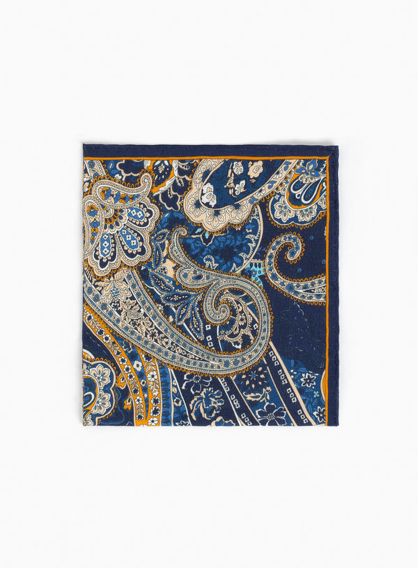 Beige Paisley Pocket Square - Anthony Of London -BEIGE