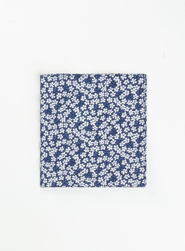 White Floral Pocket Square - Anthony Of London -BLUE