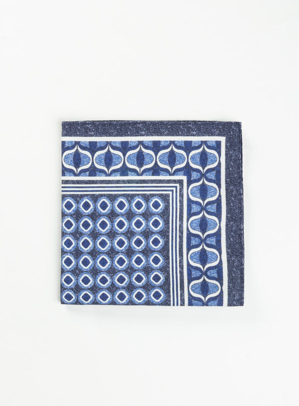 Blue Medallions Pocket Square - Anthony Of London -BLUE