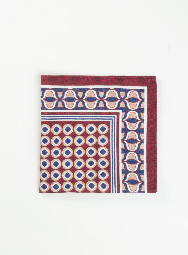 Red Medallions Pocket Square - Anthony Of London -RED