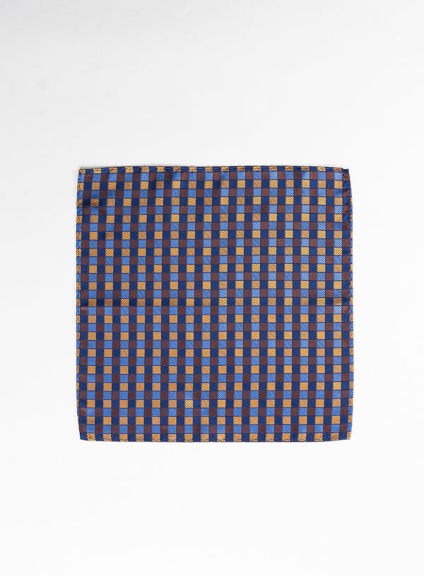 Check Box Pocket Square - Anthony of London -COGNAC