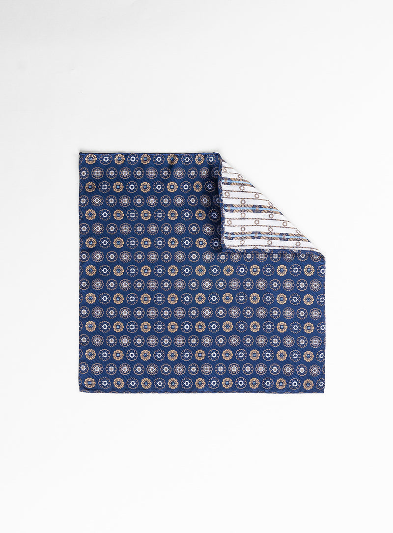medallion pattern taupe pocket square - anthony of london -taupe
