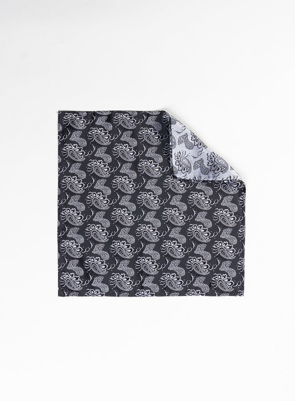 Black Paisley Pocket Square - Anthony of London -BLACK
