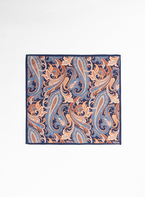 Orange Paisley Pocket Square - Anthony of London -ORANGE