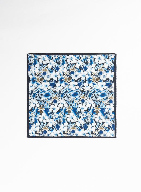 Lightblue Flowers Pocket Square - Anthony of London -BLACK