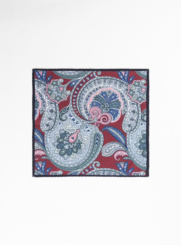 PAISLEY POCKET SQUARE FROM BRAND ANTHONY OF LONDON. ERNEST -FUSCHIA