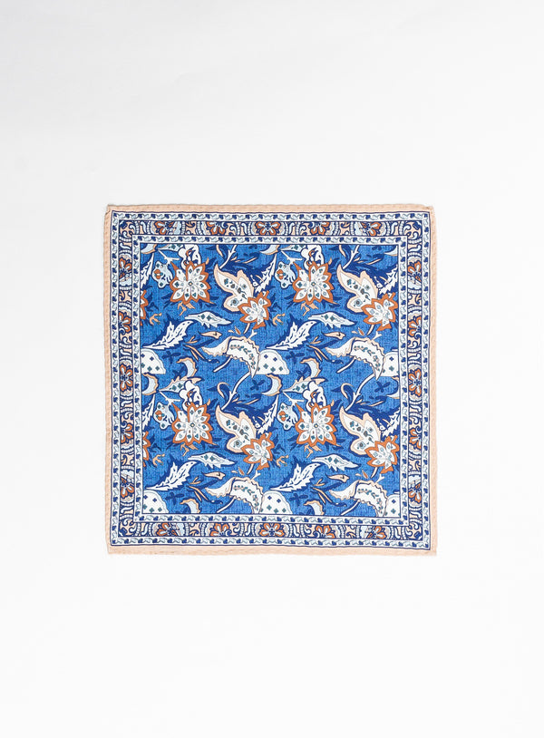 Blue Leaves Pocket Square - Anthony of London -BLUE