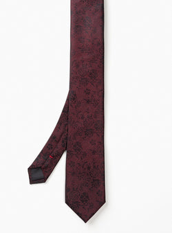 BURGUNDY TIE WITH FLORAL PATTERN FROM BRAND ANTHONY OF LONDON. ERNEST -BURGUNDY