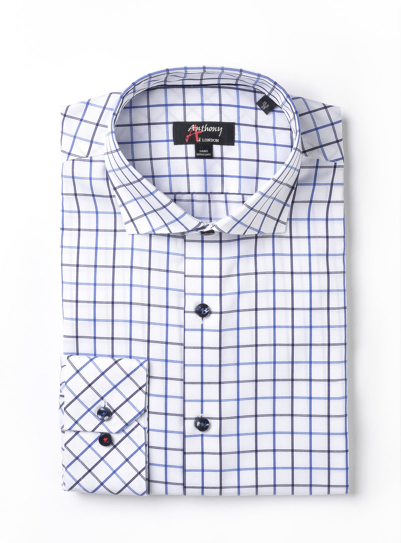 textured check non-iron dress shirt - anthony of london -cobalt