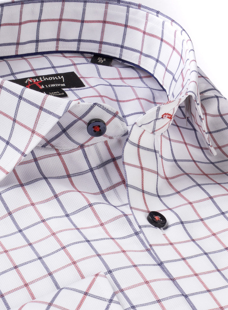 textured check non-iron dress shirt - anthony of london -raspberry