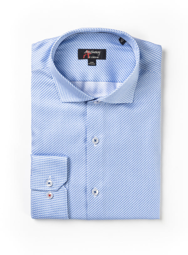 Light Blue Herringbone Print Non-Iron Dress Shirt - Anthony Of London -BLUE