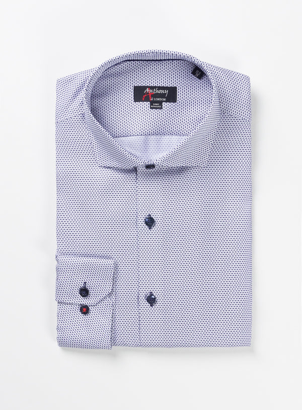 Micro Print Herringbone Non-Iron Dress Shirt - Anthony of London -NAVY