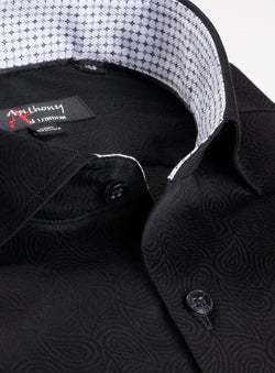 Tonal Paisley Print Non-Iron Dress Shirt  - Anthony of London -BLACK