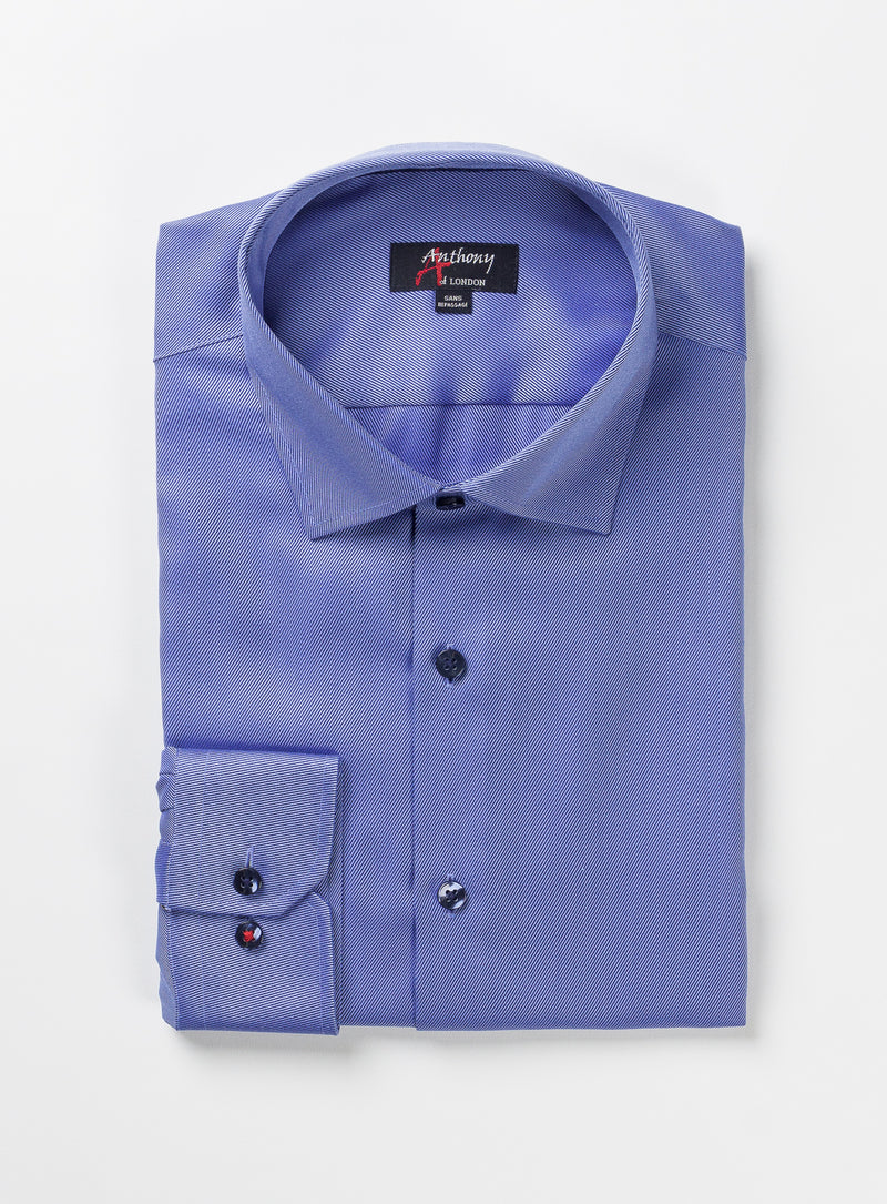 solid twill non-iron dress shirt - anthony of london -cobalt