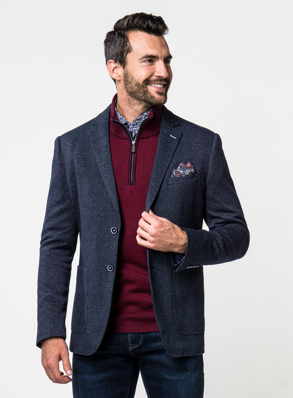 Birdseye Knit Sport Jacket - Anthony of London -NAVY
