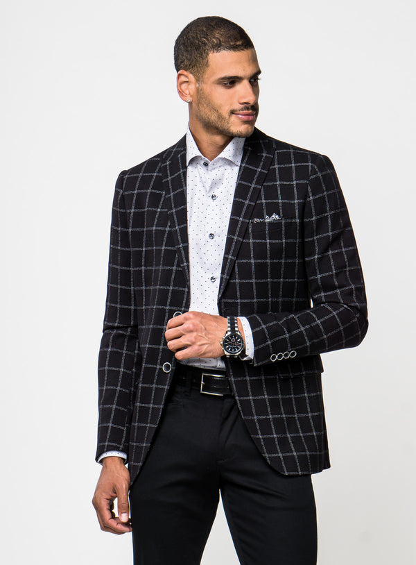 Black Windowpane Sport Jacket - Anthony of London -BLACK