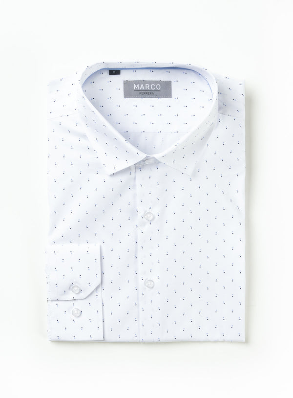 Double Dot Print Dress Shirt - Marco Ferrera -BLUE