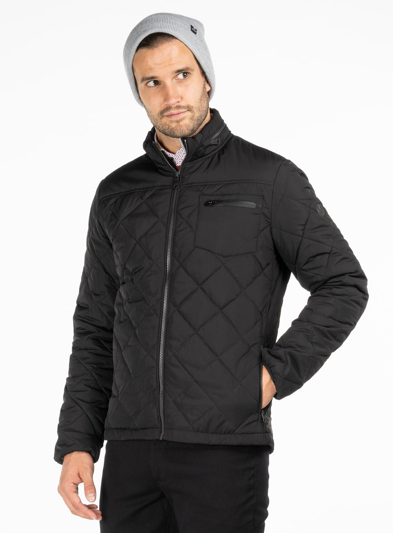 quilted diamond jacket - anthony of london -black