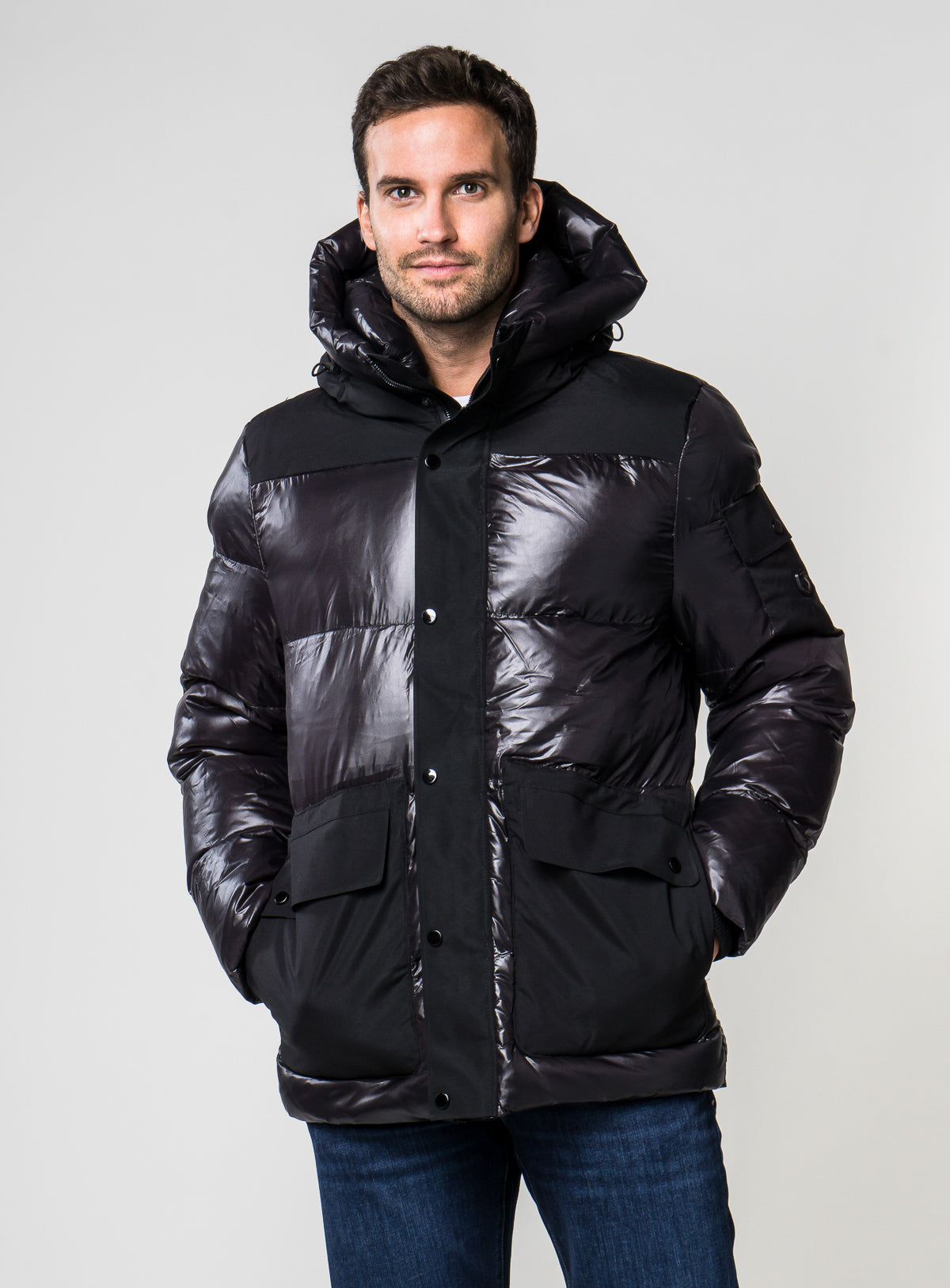 """eli"" quilted down puffer parka - point zero -black"