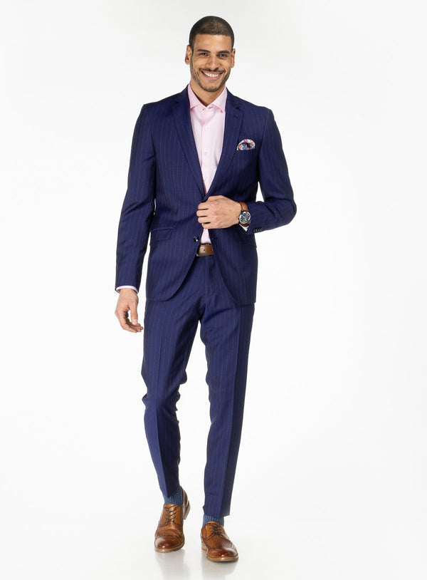 Royal Blue Pinstripe Suit - Anthony of London -ROYALBLUE
