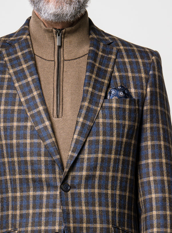 Blue Check Sport Jacket - Orvieto -BURLYWOOD