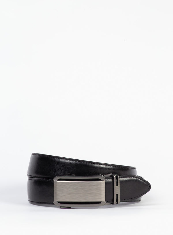 Dressy Black Leather Belt - Anthony of London -BLACK