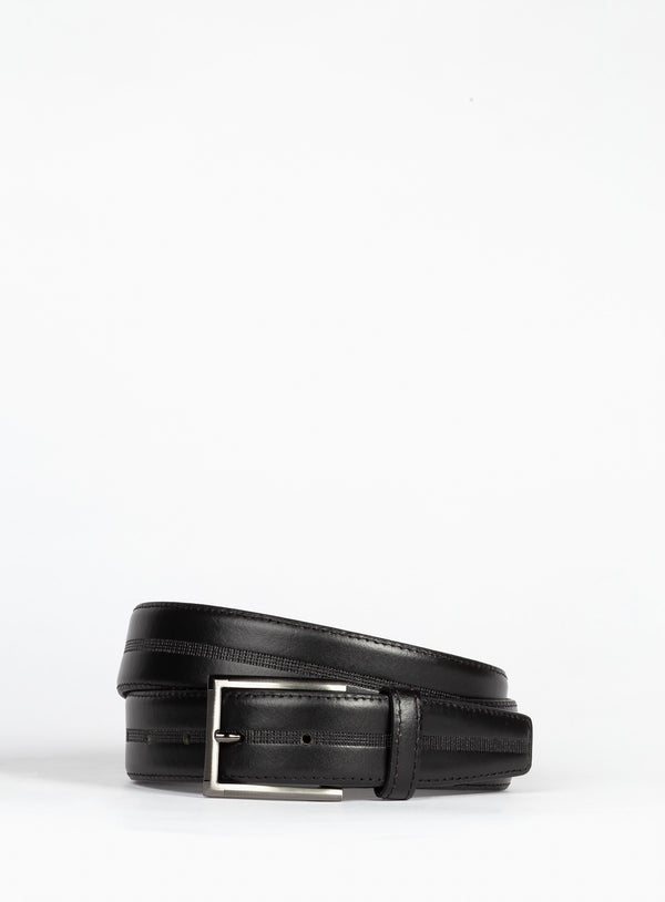 Black Prong Side Detail Belt - Anthony Of London -BLACK
