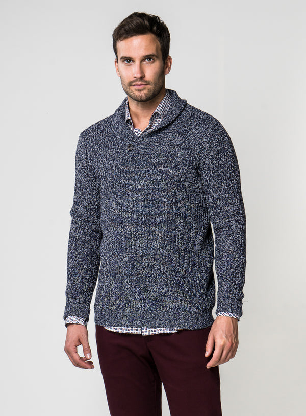 Shawl Collar Heathered Sweater - Orvieto -NAVY