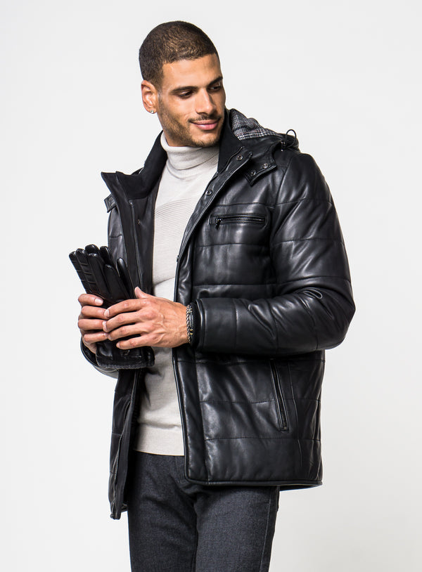 Leather Jacket With Hood - Sly & Co -BLACK
