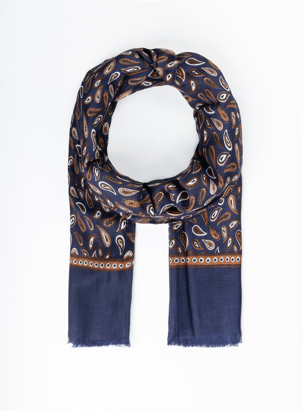 Paisley Lightweight Scarf - Anthony of London -NAVY