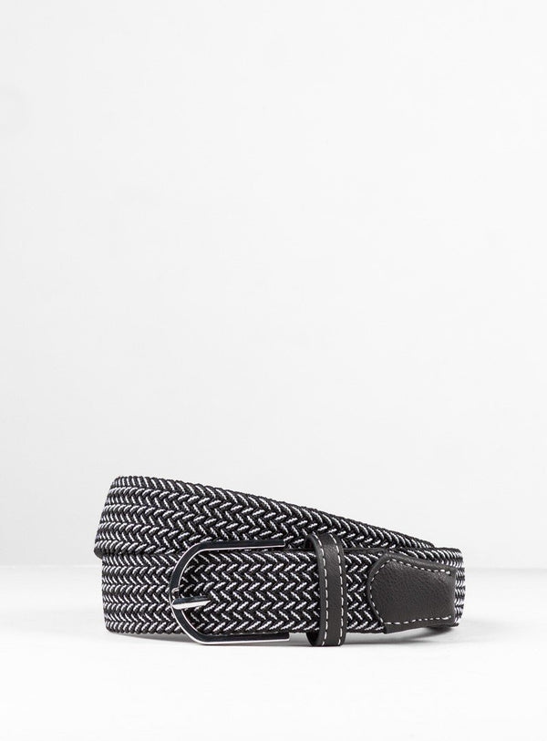 BLACK/WHITE WEB BELT FROM BRAND ORVIETO. ERNEST -BLACK