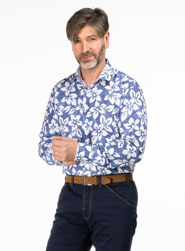 COTTON SATEEN ALLOVER FLORAL PRINT SHIRT FROM BRAND BUGATCHI. ERNEST -BLUE