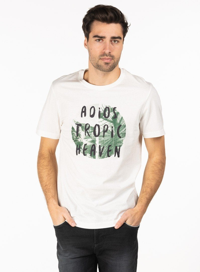 tropic print t-shirt from brand anthony of london. ernest -ecru