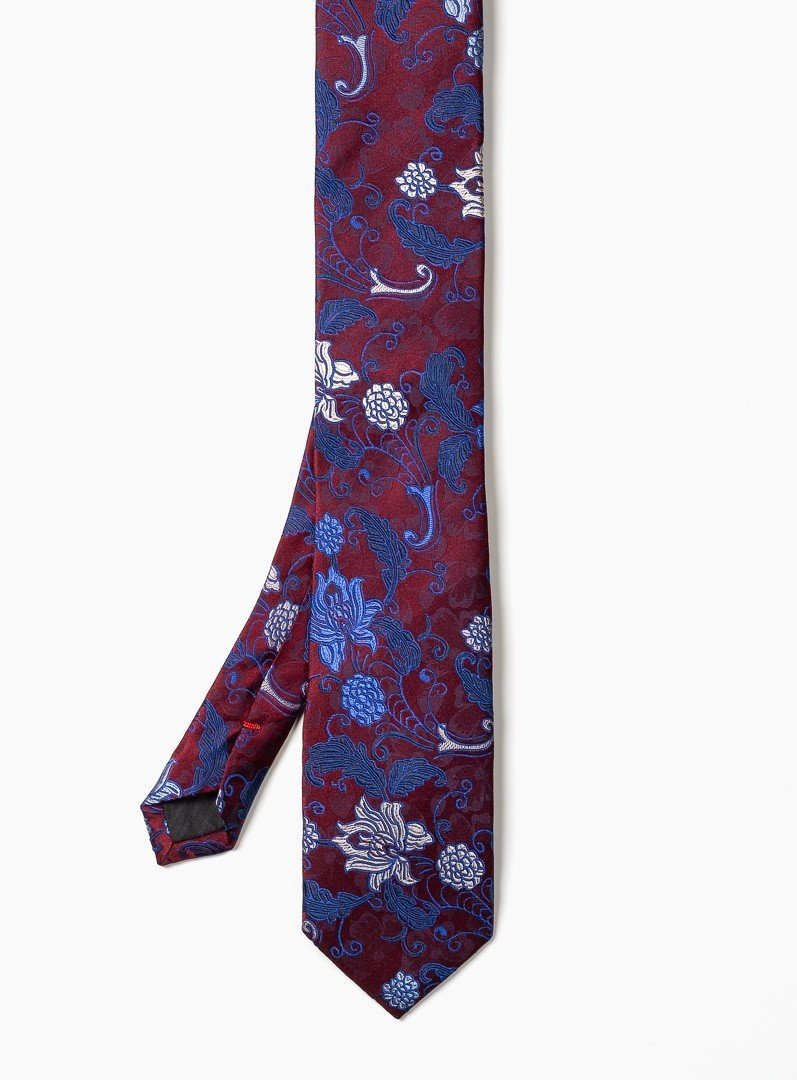 two tones flower pattern tie from brand . ernest -wine