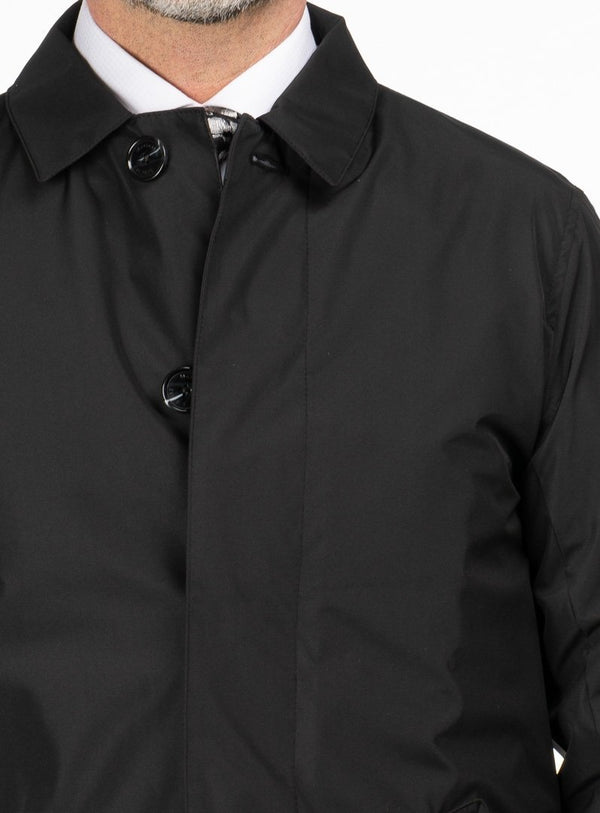 SOLID COLOR RAINCOAT FROM BRAND MATINIQUE. ERNEST -BLACK